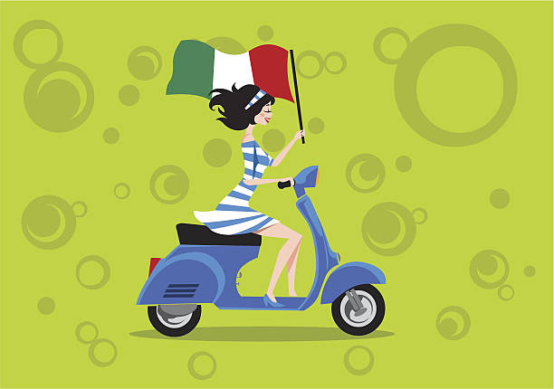 Scooter Vespa Piaggio wirh garota italiana - ilustração de arte em vetor