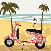 Scooter on the beach. Please see some similar pictures in my lightboxs: