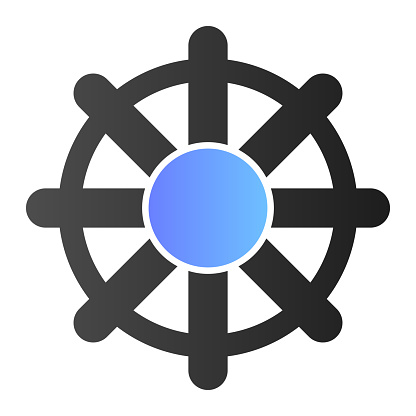Vessel steering wheel flat icon. Boat steering wheel color icons in trendy flat style. Ship steering wheel pole gradient style design, designed for web and app. Eps 10.