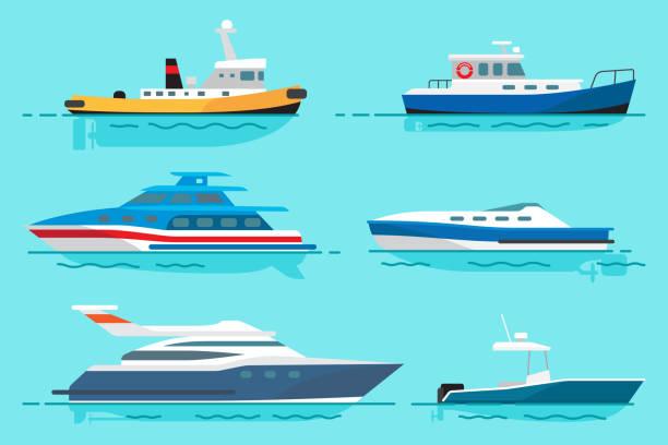 ilustrações de stock, clip art, desenhos animados e ícones de vessels with various functions illustrations set - ferry