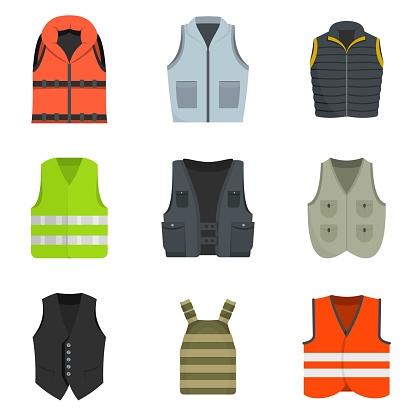 Vest waistcoat jacket suit icons set vector isolated