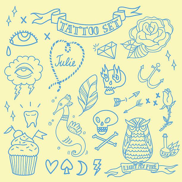vestor オールドスクールのタトゥーセット - ダイヤモンドのタトゥー点のイラスト素材/クリップアート素材/マンガ素材/アイコン素材