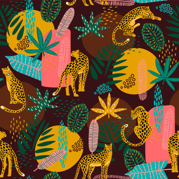 vestor seamless pattern with leopards and abstract tropical leaves. - jaguar stock illustrations