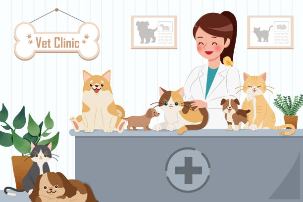 stockillustraties, clipart, cartoons en iconen met vet clinic concept - dierenziekenhuis