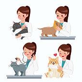 cartoon veterinarian with injured animals on white background