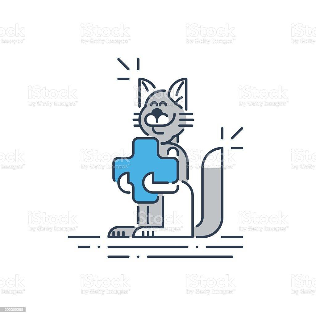 Vet clinic. Pet health insurance vector art illustration