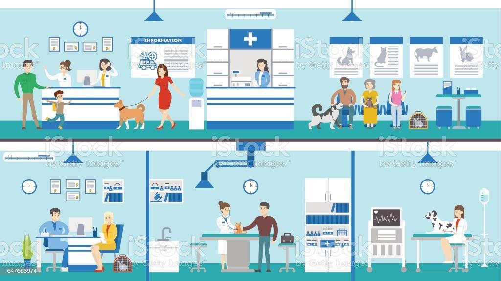 Vet clinic set interior. vector art illustration