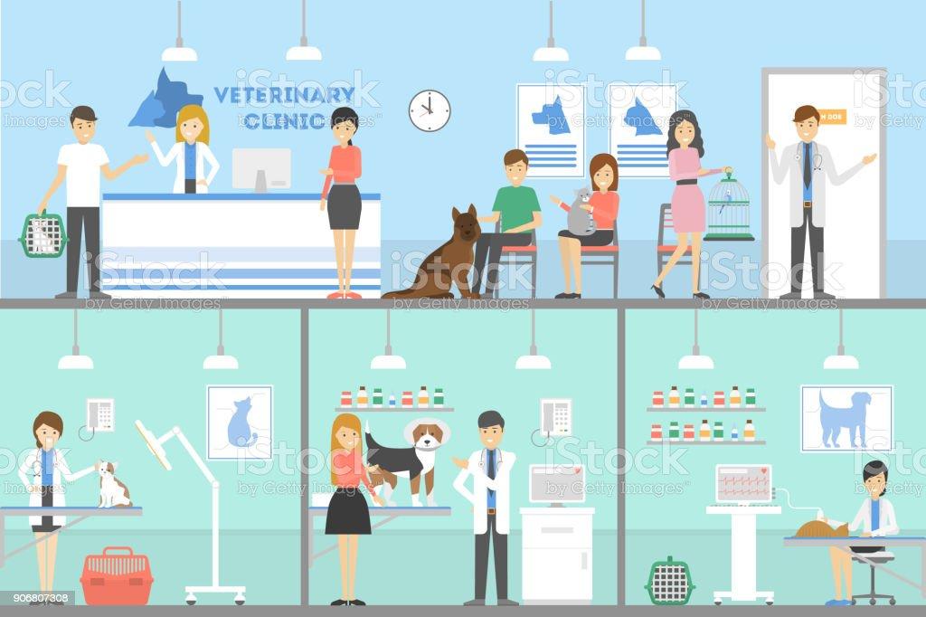 Conjunto de la clínica del veterinario. - ilustración de arte vectorial