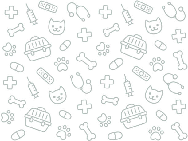 vet seamless pattern - animals background stock illustrations