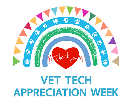 Cartoon rainbow and red heart with text Thank you. National Vet Tech Week annual event.