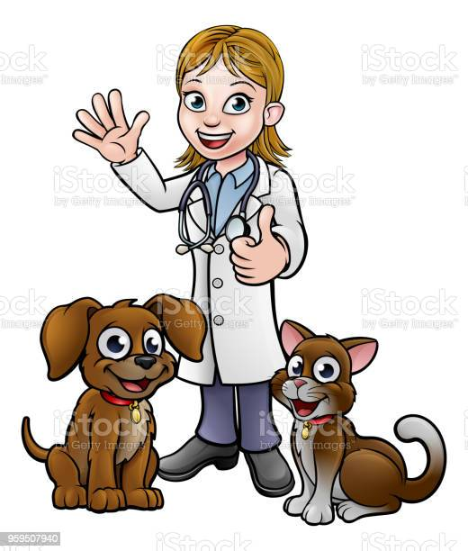 Vet With Pet Cat And Dog Cartoon Characters Stock Illustration Download Image Now Istock