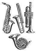 Vetcor illustration of brass instruments.