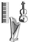 Vetcor illustration of musical instruments. Piano keys, harp, violin.