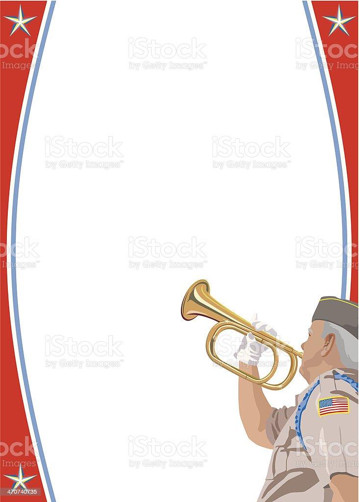 Veteran Bugle Frame C vector art illustration