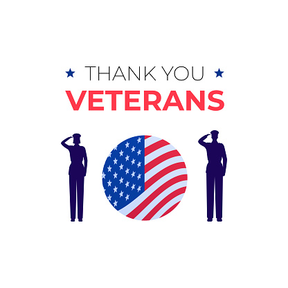 """Veteran day holiday banner template. Vector flat illustration. """"Thank you veterans"""" text on white background. Man and woman soldier silhouette salute. American flag sign in circle frame."""