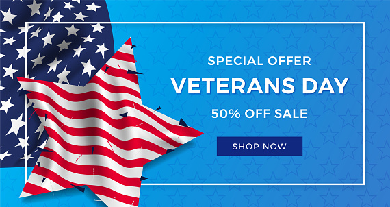 Veterans day advertising banner ad, realistic flag of America with folds in the shape of a star and text on a blue background. 3d illustration