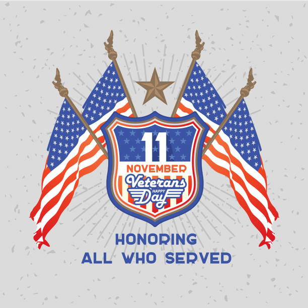 veterans day. american flags on the background of the shield. - memorial day stock illustrations