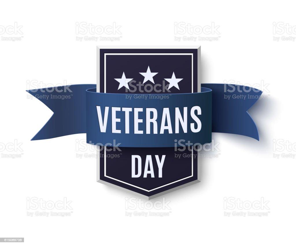 Veterans Day background template on white. vector art illustration