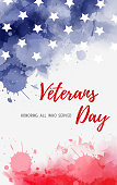 USA Veterans day background. Honoring all who served. Abstract grunge watercolor paint splashes in flag colors with text. Template for holiday banner, invitation, flyer, etc.