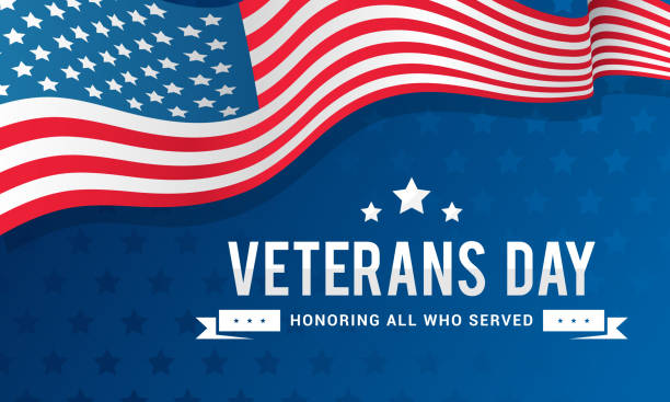veterans day background vector illustration, honoring all who served. typography with usa flag waving on blue background. - veterans day stock illustrations