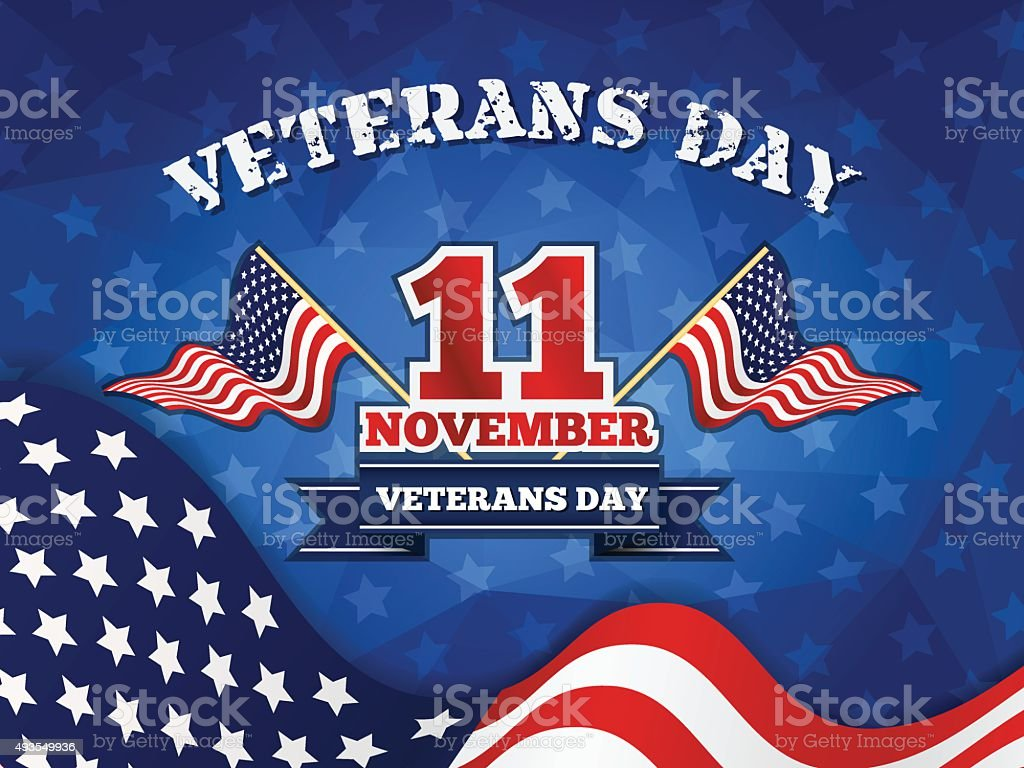 Veterans Day Badge and Background vector art illustration