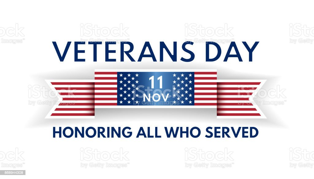 Veterans Day banner with ribbon and US flag vector art illustration