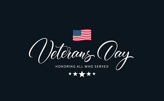 USA Veterans Day calligraphic inscription.