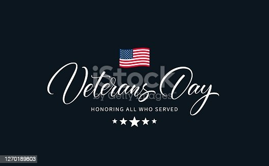 Veterans day text with phrase