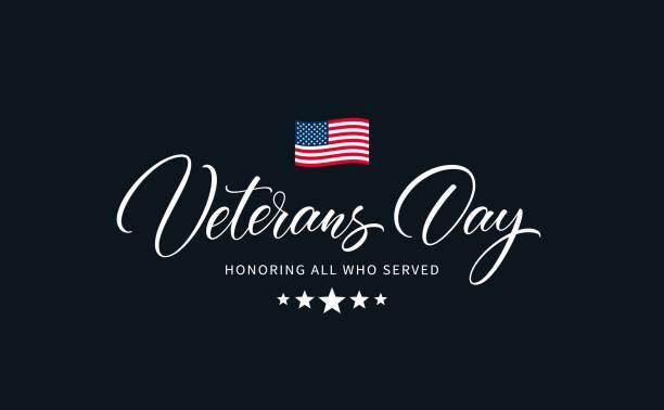 usa veterans day calligraphic inscription. - veterans day stock illustrations