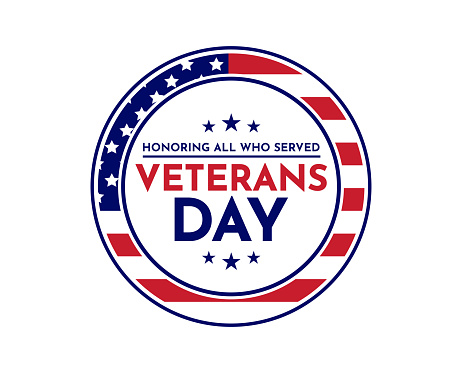 Veterans Day card. Honoring all who served. Vector