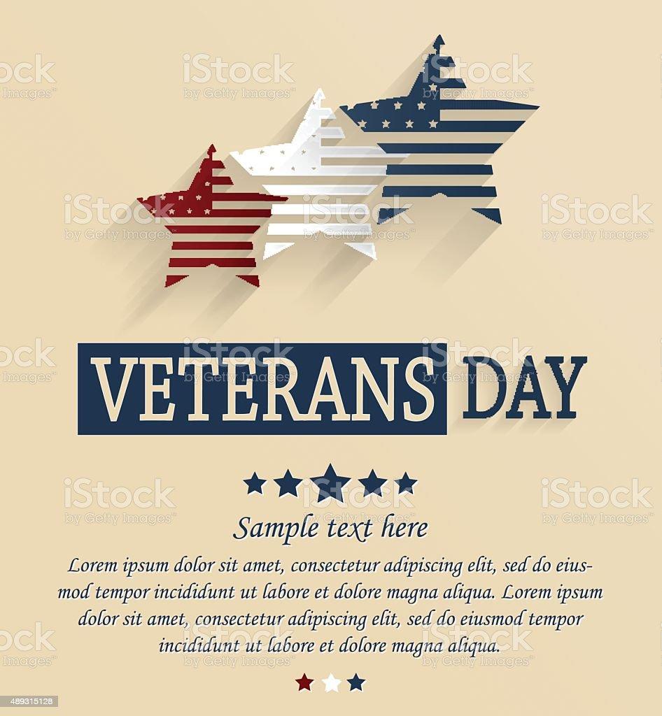 Veterans Day card. Red, white and blue stars vector art illustration