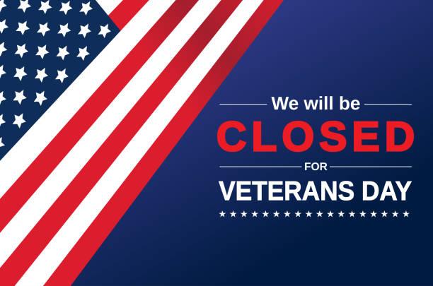 stockillustraties, clipart, cartoons en iconen met veteranen dag kaart. we zullen gesloten teken. vector - dicht