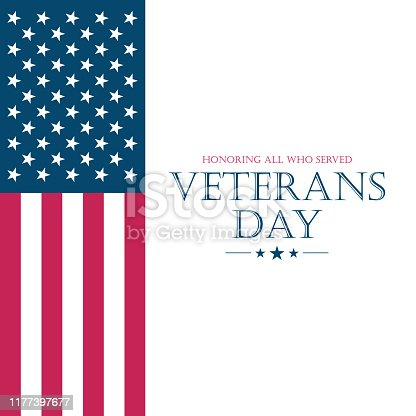 istock US Veteran's Day card with flag of the United States. USA national holiday. 1177397677