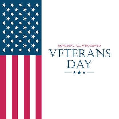 US Veteran's Day card with flag of the United States. USA national holiday.