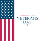 US Veteran's Day card with flag of the United States. USA national holiday vector illustration.