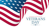 USA Veterans Day celebrate banner with waving United States national flag. American national holiday.