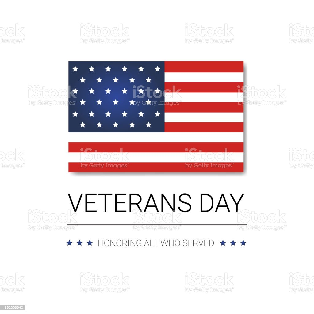 Veterans Day Celebration National American Holiday Banner With Usa Flag vector art illustration