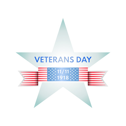 Veterans Day emblem from star and US glag ribbon