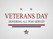 Veterans Day greeting card. Honoring all who served. Vector illustration. All elements are separate. Easily modifying. No mesh. EPS10