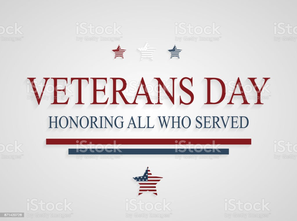 Veterans Day greeting card. Honoring all who served. Vector illustration. vector art illustration