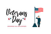 USA Veterans day greeting card template. United States of America flag with soldier in military uniform. Vector horizontal banner, poster, flyer design for National american army patriot holiday