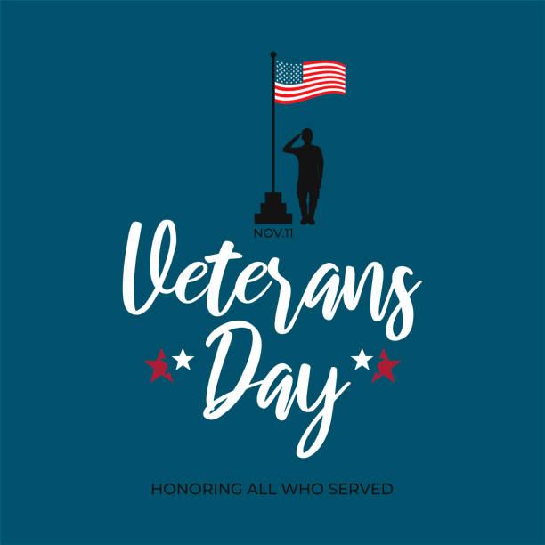 usa veterans day greeting card template. united states of america flag with saluting soldier and text - veterans day. vector banner, poster, flyer design for national american army patriot holiday - veterans day stock illustrations