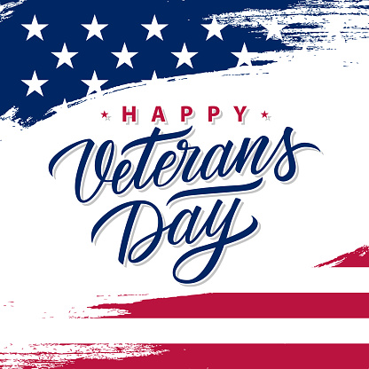 USA Veterans Day greeting card with brush stroke background in United States national flag colors and hand lettering text Happy Veterans Day.