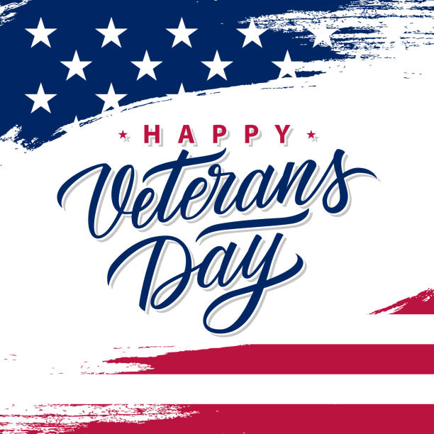 usa veterans day greeting card with brush stroke background in united states national flag colors and hand lettering text happy veterans day. - veterans day stock illustrations
