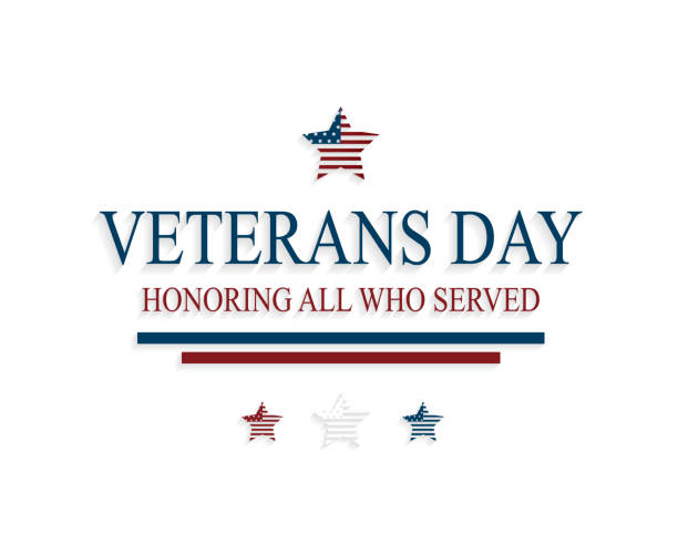 veterans day greeting card with stars on white background. honoring all who served. vector illustration. - veterans day stock illustrations