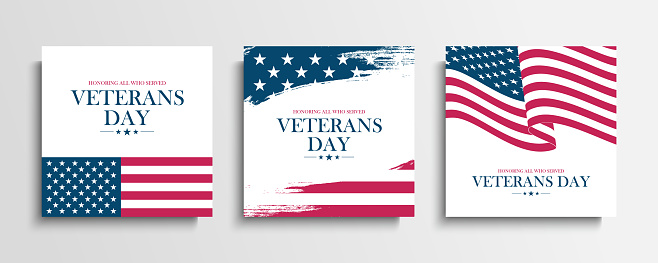 USA Veterans Day greeting cards set with United States national flag. Honoring all who served. United States national holiday.