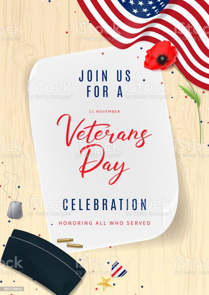 Veterans day greeting party invitation stock vector art more veterans day greeting party invitation royalty free veterans day greeting party invitation stock vector art m4hsunfo