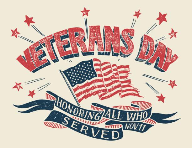 veterans day hand-lettering poster - veterans day stock illustrations