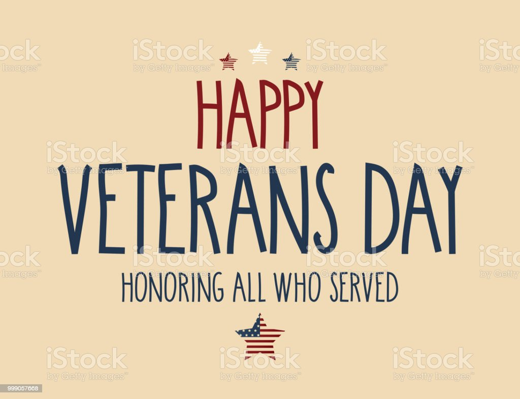 Veterans Day Handwritten Lettering Greeting Card Vector Illustration