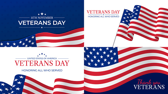 Veterans day. Happy veterans day celebration november 11 honoring heroes who served. Usa flag and lettering patriotic holiday vector posters